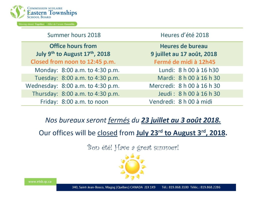 Summer shutdown 2018 with summer hours