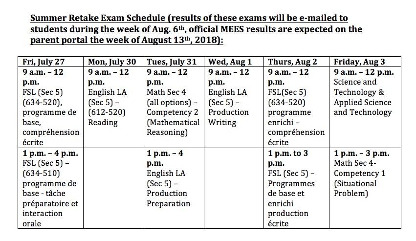 Retake Exams 2018
