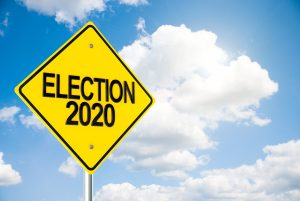 Three-dimensional rendering of road sign Election 2020 on the blue sky represents Presidential Election in USA, 3D illustration